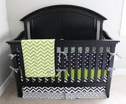 boy crib bedding lime green chevron navy blue and grey