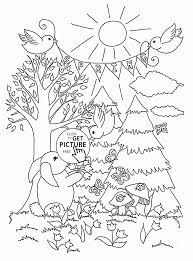 spring in forest coloring page for kids seasons coloring pages