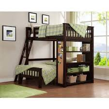 whalen emily full over twin wood bunk bed with bookshelf espresso