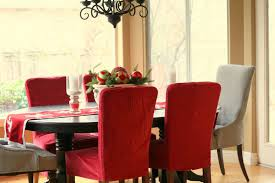 Formal Dining Room Chair Covers Fascinating Decorating Ideas Using Rectangular Red Grey Fabric