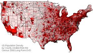 united states population map the united states of america