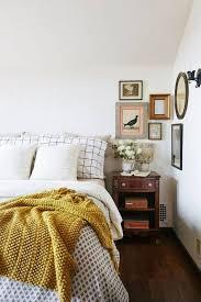 bedroom mustard yellow bedding neutral bedroom with pop of color