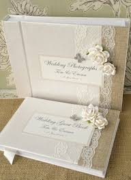 wedding guest book luxury personalised wedding guest book album set lace