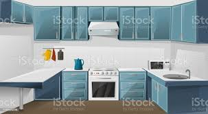 kitchen sink with cupboard for sale kitchen interior design cupboard furniture room with fridge oven microwave sink and kettle vector illustration stock illustration image now