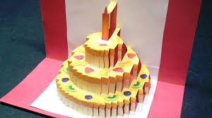 birthday cake pop up card happy birthday kirigami free