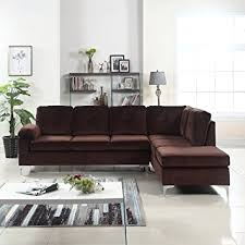 Sectional Sofa Amazon Amazon Com Modern Tufted Brush Microfiber Sectional Sofa Large L