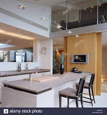 kitchen island with marble worktop in thames penthouse apartment