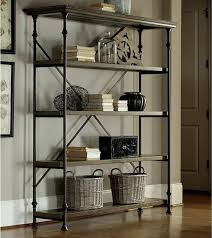 Iron And Wood Bookcase Rustic Wood And Metal Shelving Unit Metal Brackets For Wood