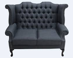 Grey Fabric Chesterfield Sofa by Grey Chesterfield 2 Seater High Back Chair Designersofas4u