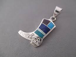 turquoise stone wallpaper inlaid multi stone cowboy boot pendant inlay jewelry boot pendant
