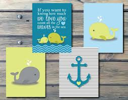 whales n waves n anchors nautical nursery art instant
