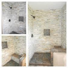 Stone Tile Bathroom Ideas Gray Stone Shower With Bench Grey Stone Shower With Bench Our