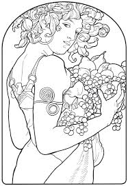 picturesque design alphonse mucha coloring pages page cecilymae