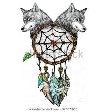 dreamcatcher wolf heads drawing pen stock illustration 570071635