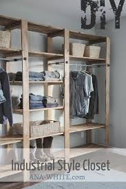Adding A Closet To A Bedroom Ana White Industrial Style Wood Slat Closet System With