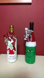grinch wine bottles wine bottle craft pinterest grinch