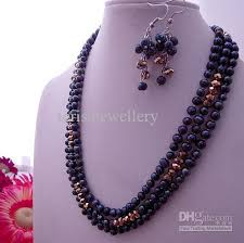 crystal bead necklace jewelry images 2018 3row genuine black pearl golden crystal beads necklace jpg