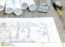 Floor Plan Tools Contractor Work Tools With Floor Plan On Gray Wooden Boards Stock