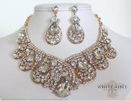 gold vintage statement necklace images Gold bridal jewelry set crystal statement necklace earrings jpg