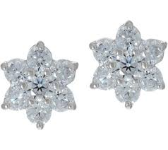 cluster stud earrings diamonique floral cluster stud earrings sterling page 1 qvc
