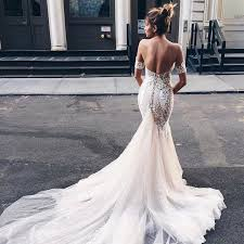 open back wedding dresses mermaid sweetheart backless light chagne wedding dress with