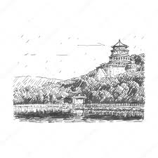 the summer palace scenery beijing china vector freehand pencil