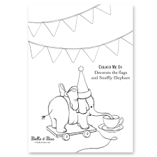 snuffly elephant colouring sheet belle u0026 boo