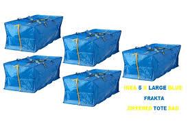 new ikea 5 x large blue frakta zippered tote storage laundry bag