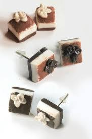 food earrings tiramisu cake earrings mini food jewelry tiny cake badger s bakery