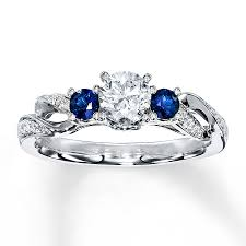 saphire rings diamond sapphire ring 1 2 ct tw cut 14k white gold