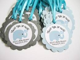 baby boy shower favors personalized elephant favor tags for baby boy shower party in blue