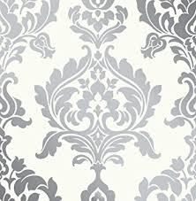 off white silver damask foil wallpaper paste the wall 10mtr roll