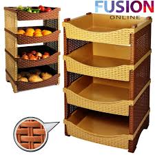 Kitchen Storage Shelves by 4 Tier Rattan Plastic Vegetable Fruit Rack Basket Kitchen Storage