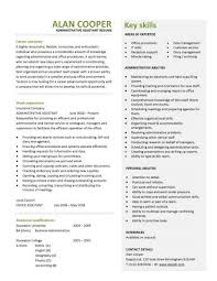 Sample Key Skills For Resume by Administrative Assistant Cv Resume Key Skills Writing Resume