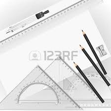 drawing tools with a drawing in the background royalty free
