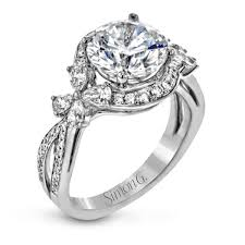 white gold wedding rings 18k white gold engagement ring with floral side accents