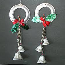 Glass Bell Christmas Ornaments - 1950s foil glass bead bells christmas wreath ornaments vintage
