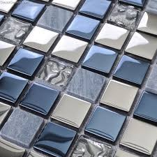 stainless steel mosaic tile backsplash blue silver wall tile blend metal and glass stainless steel mosaic