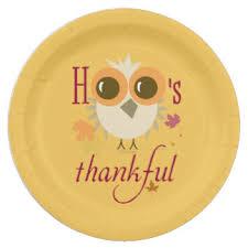 thanksgiving owl plates zazzle