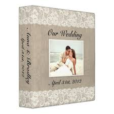 Rustic Photo Album Rustic Lace U0026 Burlap Look Wedding Album Binder Zazzle Com