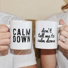 calm down couples coffee mug set picnics humor and coffee
