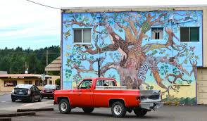 mural mural on the wall the murals of estacada oregon tree of life murals near cars and trucks