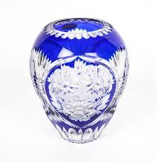 Cobalt Blue Crystal Vase Schonborner Bleikristall Crystal Cobalt Blue Vase Ebth