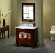 interior contemporary bathroom design idea with brown mahogany
