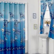 Bathroom Window And Shower Curtain Sets by Aquarium Blue Shower Curtain Set And 4 Piece Window Set Free