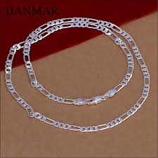 figaro chain silver necklace images Banmar trendy 4mm thickness silver necklace figaro chain necklace jpg