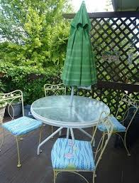 Patio Table With Umbrella Refurbishing A Faded Patio Umbrella Thriftyfun
