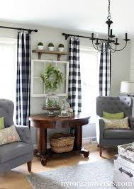 Green And White Gingham Curtains by 35 Rustic Farmhouse Living Room Design And Decor Ideas For Your