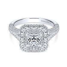 princess cut halo engagement ring mariella 14k white and gold princess cut halo