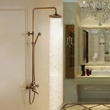 the antique brass traditional exposed shower with tub spout add
